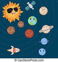 sorridente, sun., cartone animato, pianeti