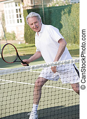 sorridente, tennis, gioco, uomo