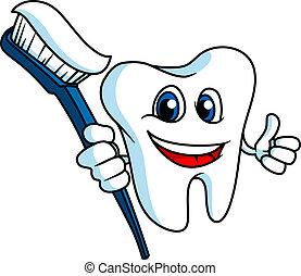 sorridente, tooth-brush, dente