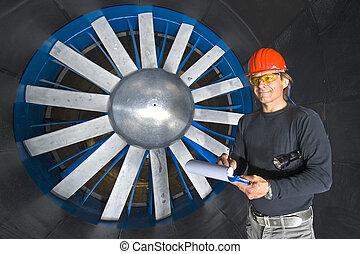 sorridente, windtunnel, ingegnere