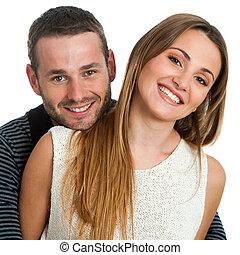 sorridere., bello, coppia