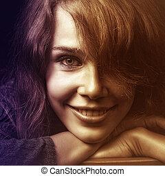 sorridere felice, donna, giovane, faccia