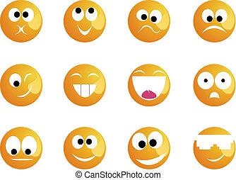 sorrisi, differente, umore, colore, giallo, allegro