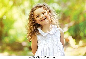 sorriso, capelli, carino, felicità, bambino, riccio, charmant, splendere