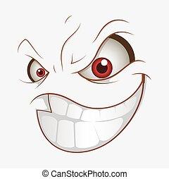 sorriso, cattivo, espressione, cartone animato, male
