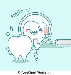 sorriso, lei, cartone animato, denti