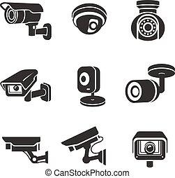 sorveglianza, macchine fotografiche video, set, icona, pictograms, grafico, sicurezza