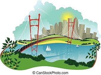 sospensione, città, ponte