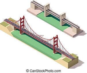 sospensione, isometrico, vettore, ponte
