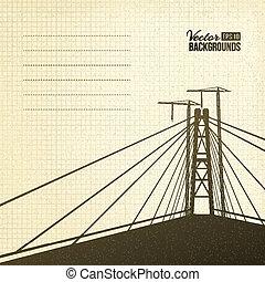 sospensione, sepia., ponte