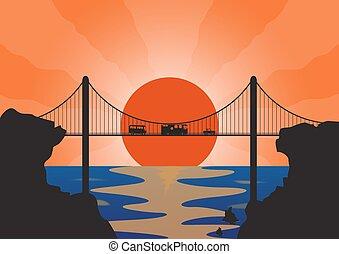 sospensione, vacanza, veicoli, ponte
