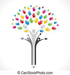 sostegno, colorito, albero, matita, mano