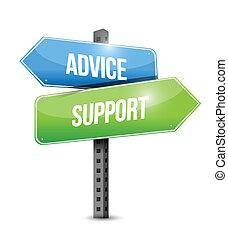 sostegno, consiglio, disegno, illustrazioni, segno, strada