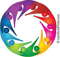 sostegno, lavoro squadra, persone, logotipo