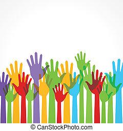 sostegno, mano, colorito