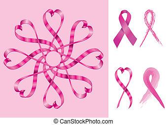 sostegno, nastri, cancro seno