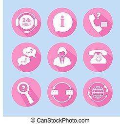 sostegno, set, centro chiamata, icone