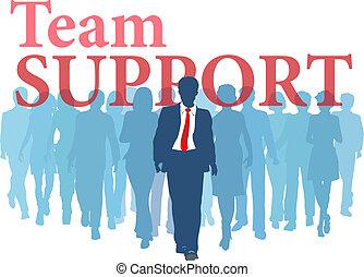 sostegno, squadra, backup, persone affari