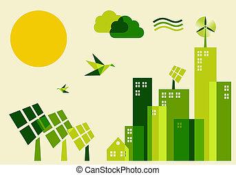 sostenibile, città, concetto, sviluppo, illustrazione