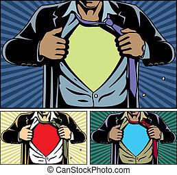 sotto, superhero, coperchio