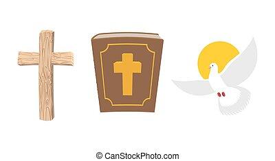 soul., simbolo, bibbia, vecchio, santo, legno, set., antico, cristiano, book., uccello, cross., colomba bianca, umano, volare, divino, croce