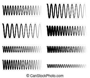 soundwave, equalizzatore, ondulato, lines., frequenza, zigzag, concetti, ampiezza, eq