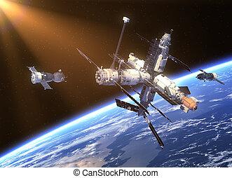 soyuz, astronave, stazione, spazio