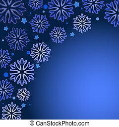 space., sfondo blu, copia, vettore, fiocco di neve