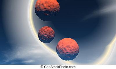 space., straniero, interpretazione, pianeti, aperto, 3d