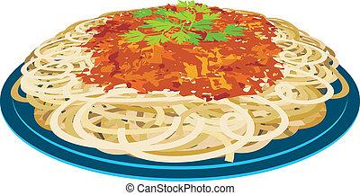 spaghetti, piastra
