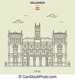 spain., punto di riferimento, municipio, valladolid, icona