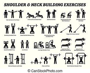 spalla, costruzione, collo, figura, pictograms., bastone, muscolo, esercizio