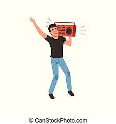 spalla, suo, ascolto, boombox, giovane, illustrazione, vettore, musica, fondo, divertimento, bianco, detenere, uomo