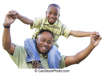spalle, papà, isolato, figlio, americano, africano, cavalcate