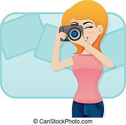 sparare, carino, macchina fotografica foto, ragazza, cartone animato