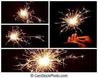 sparkler, festa, newyear, collezione, natale