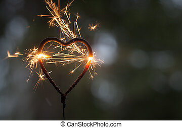 sparkler, forma cuore
