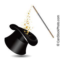 sparkles., magia, cappello, bacchetta, v
