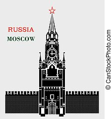 spasskaya, colorare, mosca, nero, torre, cremlino