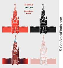 spasskaya, colorare, mosca, quattro, torre, cremlino