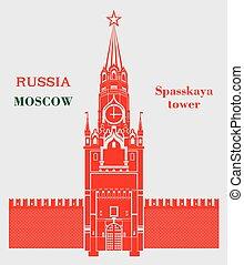 spasskaya, colorare, mosca, torre, cremlino, rosso