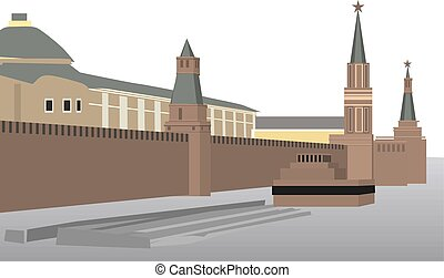 spasskaya, parete, mosca, parte, torre, cremlino