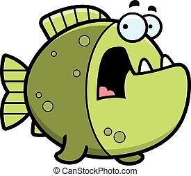 spaventato, cartone animato, piranha