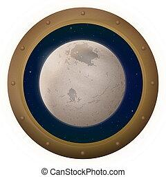 spazio, charon, finestra, luna