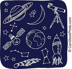 spazio, cielo, -, oggetti, notte, astronomia