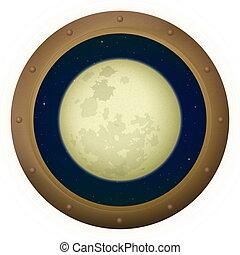 spazio, finestra, luna