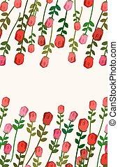 spazio, fiori, text., fondo, illustrazione, vettore, rosa