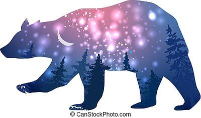 spazio, fondo, galassia, effetto, orso, silhouette