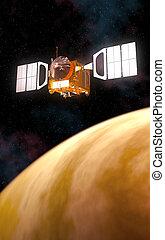 spazio, interplanetario, giallo, pianeta, stazione, orbitare