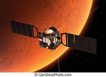 spazio, interplanetario, pianeta, stazione, marte, orbitare